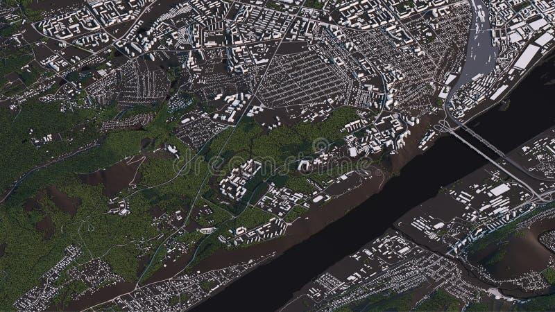 Χάρτης Krasnoyarsk στους τρισδιάστατους isometric δρόμους και τα κτήρια τοπίων διανυσματική απεικόνιση