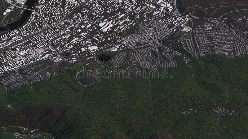 Χάρτης Krasnoyarsk στους τρισδιάστατους isometric δρόμους και τα κτήρια τοπίων ελεύθερη απεικόνιση δικαιώματος