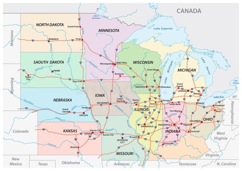 Χάρτης Midwest Ηνωμένες Πολιτείες της Αμερικής διανυσματική απεικόνιση