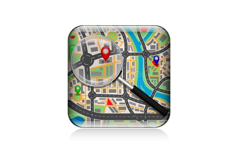 Χάρτης MobilenIcon κάτω από μια ενίσχυση - γυαλί στοκ εικόνα με δικαίωμα ελεύθερης χρήσης