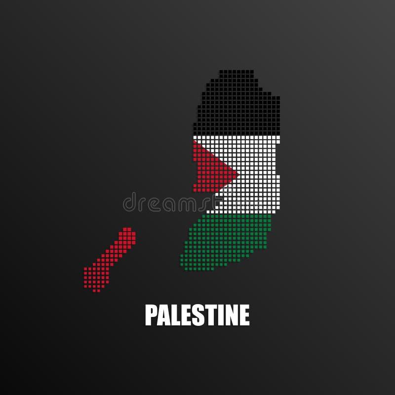 Χάρτης Pixelated της Παλαιστίνης με τη εθνική σημαία απεικόνιση αποθεμάτων