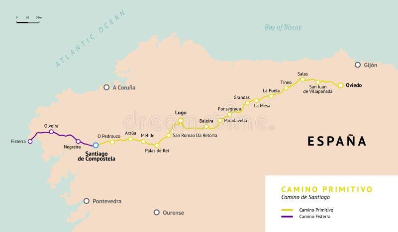 Χάρτης Primitivo Camino camino de Σαντιάγο Ισπανία διανυσματική απεικόνιση