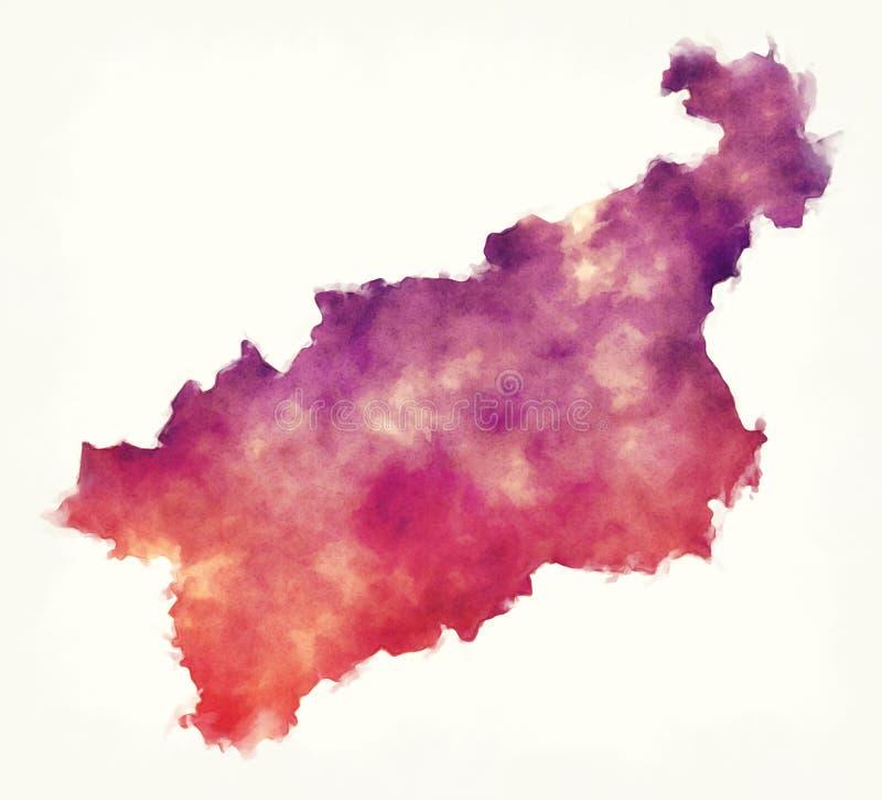 Χάρτης watercolor περιοχών NAD Labem Usti της Δημοκρατίας της Τσεχίας στο μέτωπο στοκ εικόνες με δικαίωμα ελεύθερης χρήσης