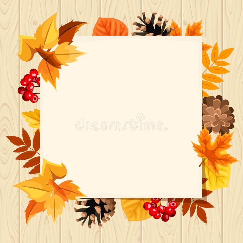 Χάρτινη κάρτα και πολύχρωμα φθινοπωρινά φύλλα σε ξύλινο φόντο Απεικόνιση διανύσματος απεικόνιση αποθεμάτων