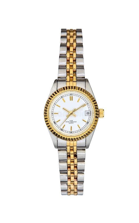 Χάλυβας - χρυσός wristwatch που απομονώνεται στο λευκό με το ψαλίδισμα της πορείας στοκ εικόνα με δικαίωμα ελεύθερης χρήσης