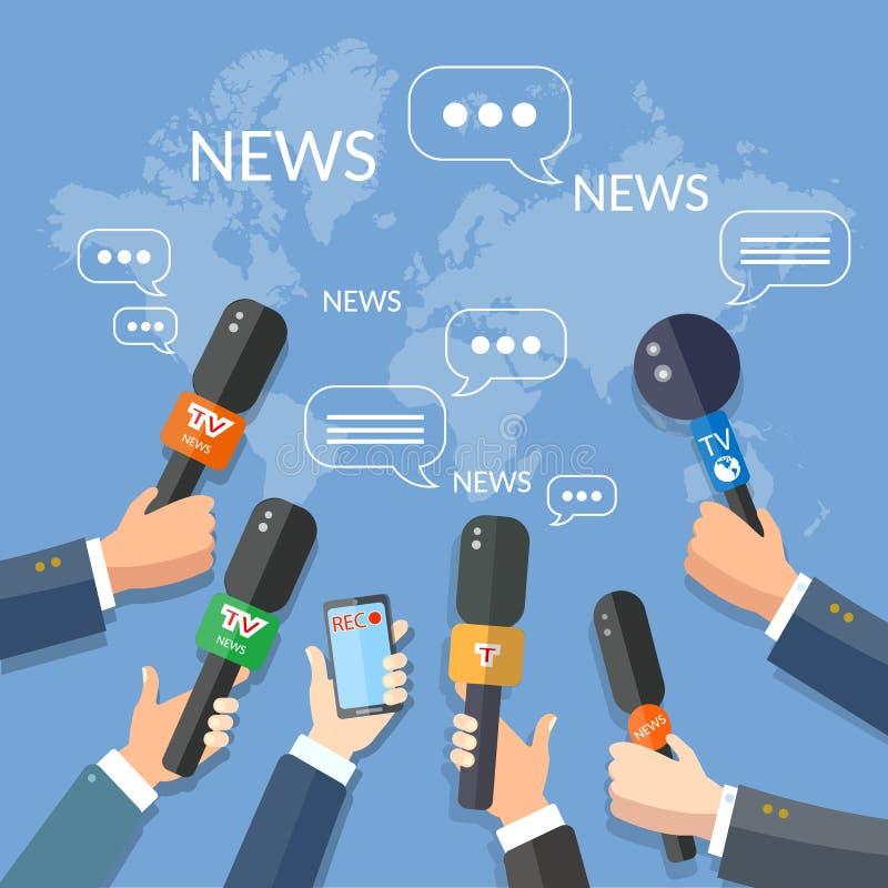 Χέρια έννοιας Τύπου εκθέσεων παγκόσμιων ζωντανά ειδήσεων των δημοσιογράφων απεικόνιση αποθεμάτων