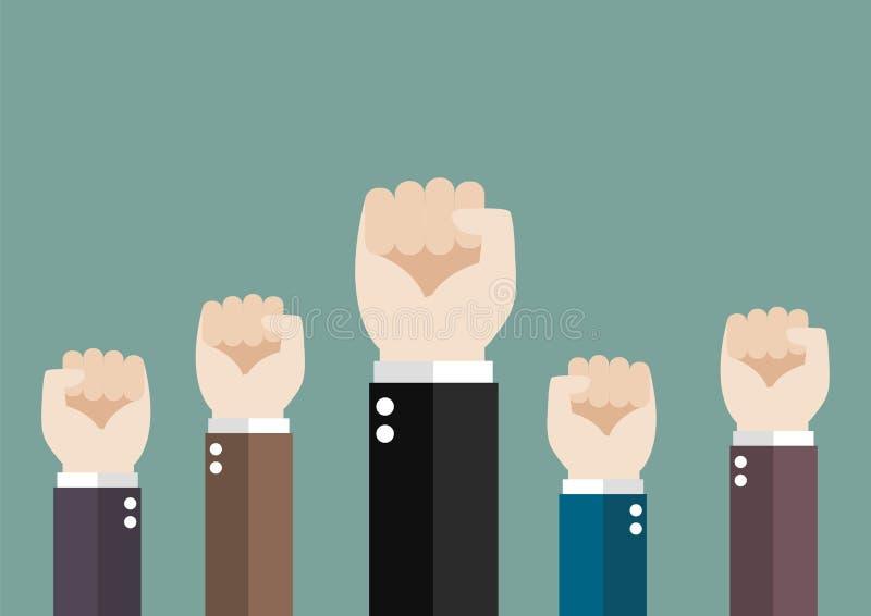Χέρια αέρα επιχειρησιακών αυξημένου του ομάδα πυγμών ελεύθερη απεικόνιση δικαιώματος