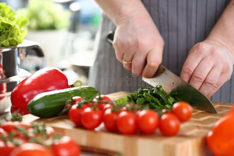 Χέρια αρχιμαγείρων που τεμαχίζουν να κάνει δίαιτα το συστατικό πρασίνων χορταριών στοκ φωτογραφίες