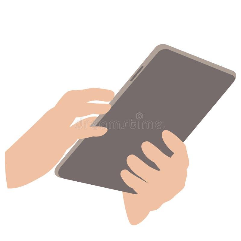 Χέρια ατόμων ` s με μια διανυσματική απεικόνιση ταμπλετών επίπεδη ελεύθερη απεικόνιση δικαιώματος