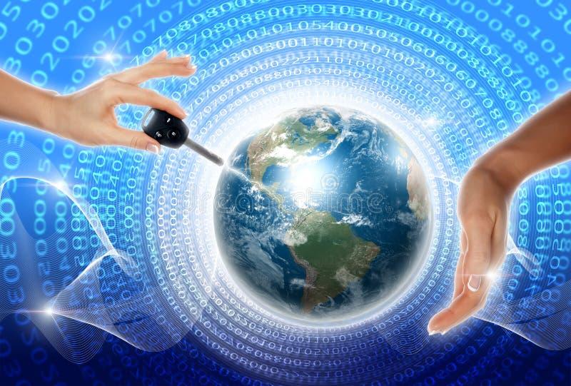 Χέρια, γραμμή, πλανήτης Γη απεικόνιση αποθεμάτων