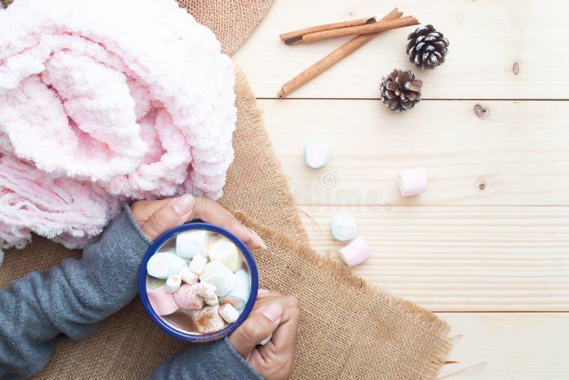 Χέρια γυναικών με την καυτή σοκολάτα με marshmallows χρώματος κρητιδογραφιών στην κορυφή Άνετος τρόπος ζωής όμορφο πορτρέτο κοριτ στοκ εικόνα