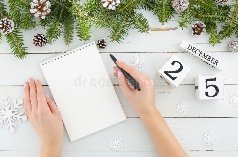Χέρια γυναικών με τη μάνδρα και το κενό σημειωματάριο Δέντρο του FIR διακοσμήσεων Χριστουγέννων, κώνοι πεύκων και διαρκές ημερολο στοκ φωτογραφίες