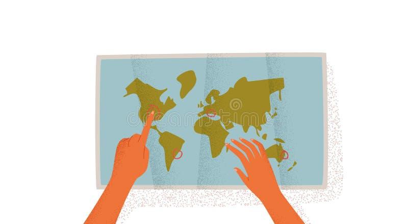 Χέρια γυναικών με τον παγκόσμιο χάρτη για τον προγραμματισμό ταξιδιού απεικόνιση αποθεμάτων