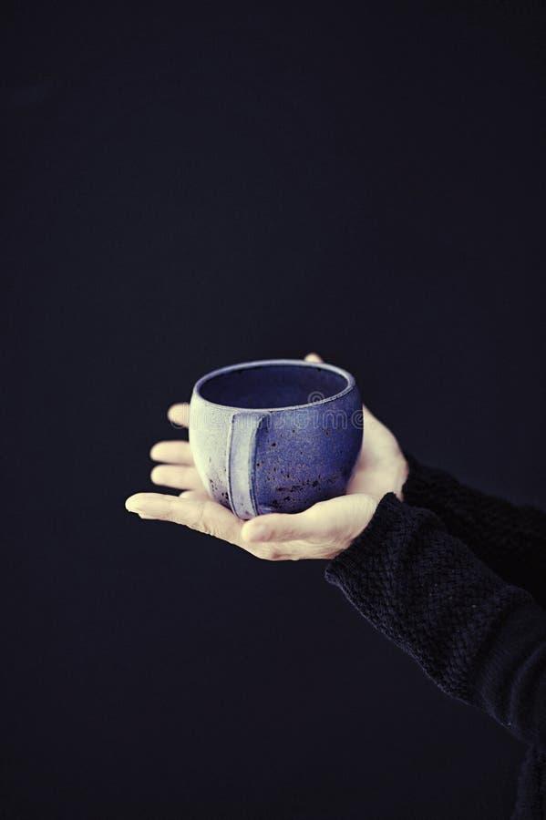 Χέρια γυναικών που κρατούν ένα μεγάλο φλυτζάνι τσαγιού στοκ φωτογραφίες με δικαίωμα ελεύθερης χρήσης