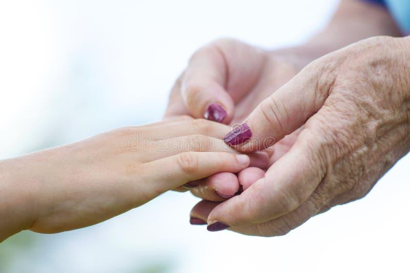 Χέρια εκμετάλλευσης Granmother και ανηψιών στοκ εικόνες με δικαίωμα ελεύθερης χρήσης