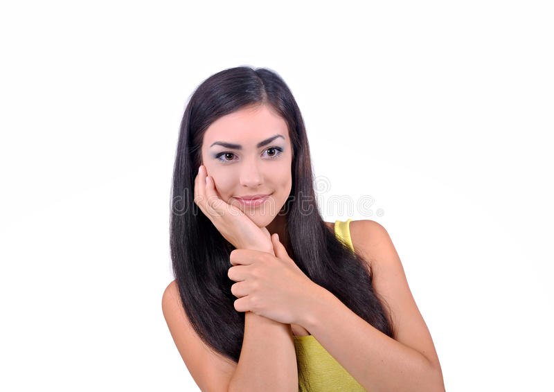 χέρια εκμετάλλευσης κοριτσιών πλησίον του προσώπου της στοκ εικόνα με δικαίωμα ελεύθερης χρήσης