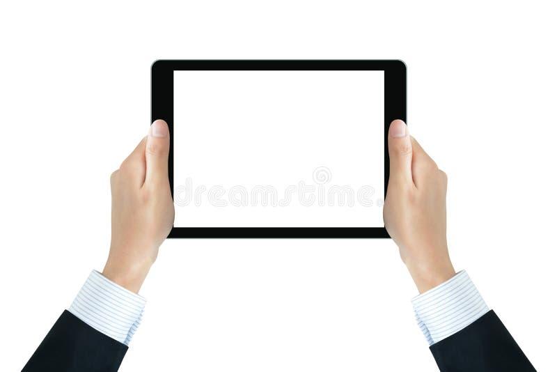Χέρια επιχειρηματιών που κρατούν το PC ταμπλετών με την κενή οθόνη στοκ εικόνες