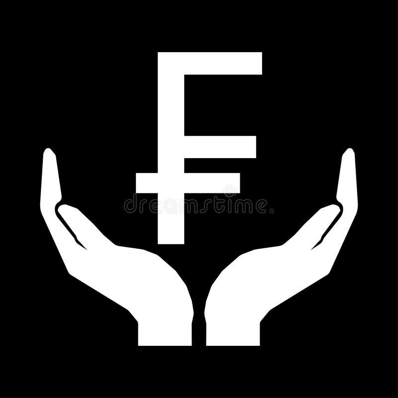 Χέρια και ΓΑΛΛΙΚΟ λευκό σημαδιών ΦΡΑΓΚΩΝ νομίσματος χρημάτων στο μαύρο υπόβαθρο διανυσματική απεικόνιση
