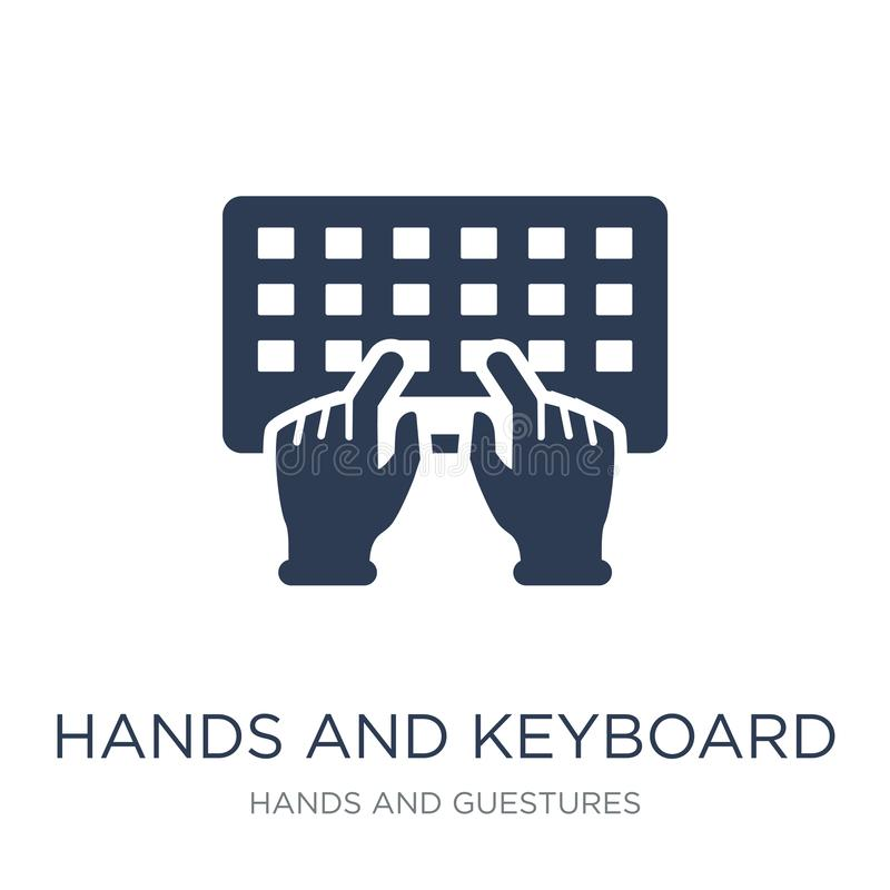 Χέρια και εικονίδιο πληκτρολογίων Καθιερώνοντα τη μόδα επίπεδα διανυσματικά χέρια και πληκτρολόγιο ι απεικόνιση αποθεμάτων