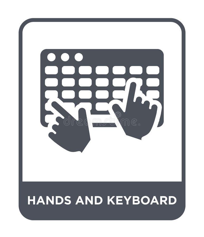 χέρια και εικονίδιο πληκτρολογίων στο καθιερώνον τη μόδα ύφος σχεδίου χέρια και εικονίδιο πληκτρολογίων που απομονώνεται στο άσπρ απεικόνιση αποθεμάτων