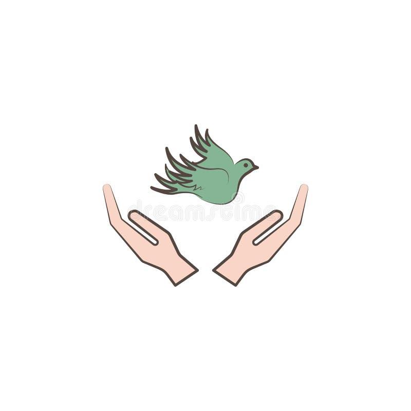 χέρια και εικονίδιο ύφους σκίτσων περιστεριών Στοιχείο του συρμένου χέρι εικονιδίου ειρήνης Γραφικό εικονίδιο σχεδίου εξαιρετικής διανυσματική απεικόνιση