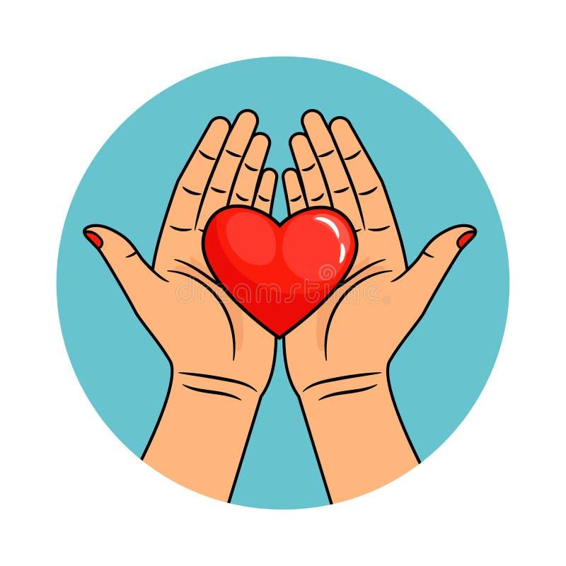 Χέρια και εικονίδιο καρδιών διανυσματική απεικόνιση