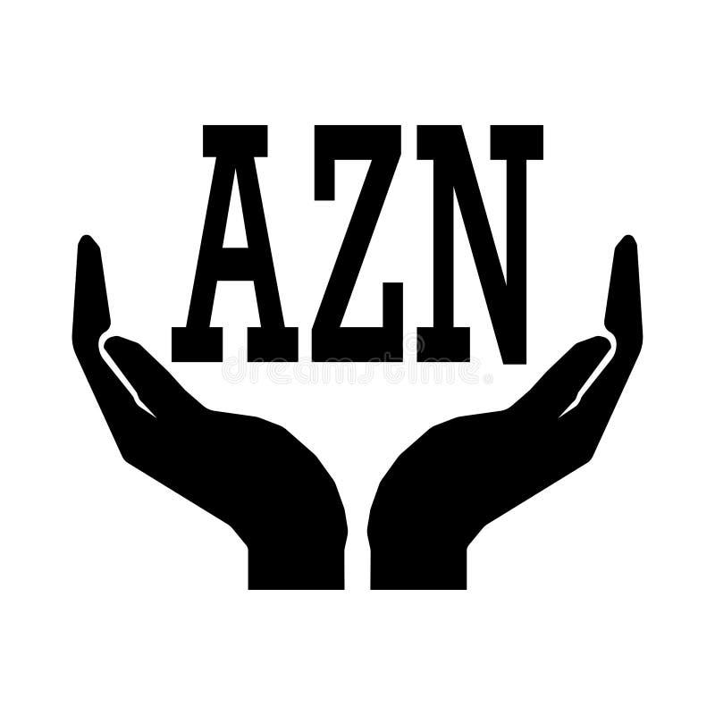 Χέρια και σημάδι manat του Αζερμπαϊτζάν νομίσματος χρημάτων Το ΣΗΜΆΔΙ AZN παίρνει το σημάδι χρημάτων προσοχής απεικόνιση αποθεμάτων