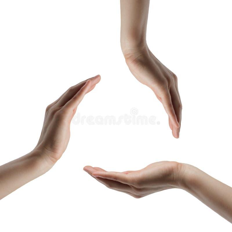 χέρια κύκλων που κρατούν τ&rh στοκ εικόνες