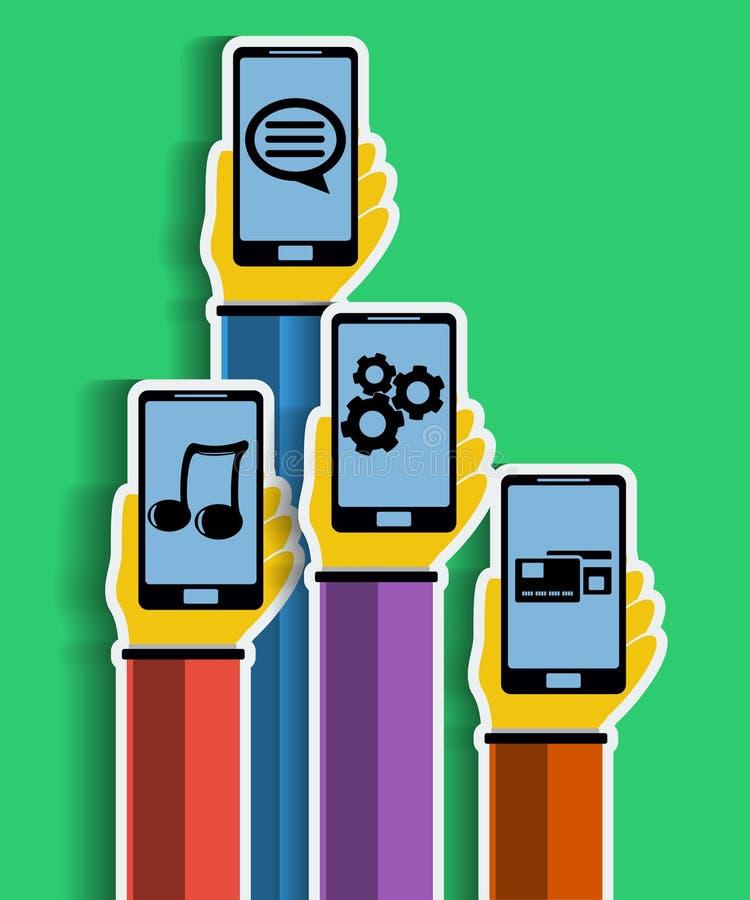 Χέρια με τα smartphones. Κινητή έννοια apps. διανυσματική απεικόνιση