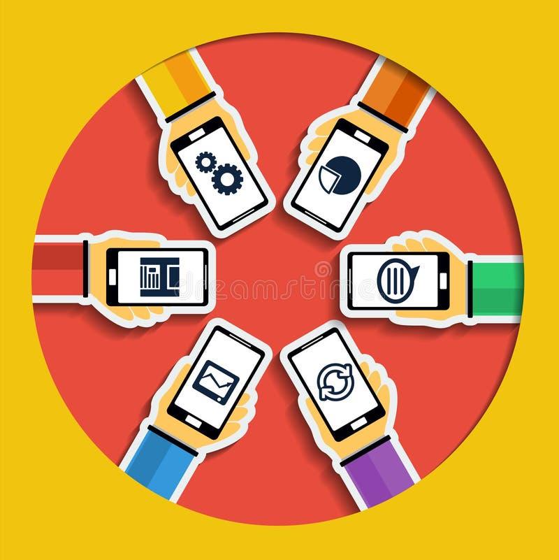 Χέρια με τα smartphones. Κινητή έννοια apps. απεικόνιση αποθεμάτων