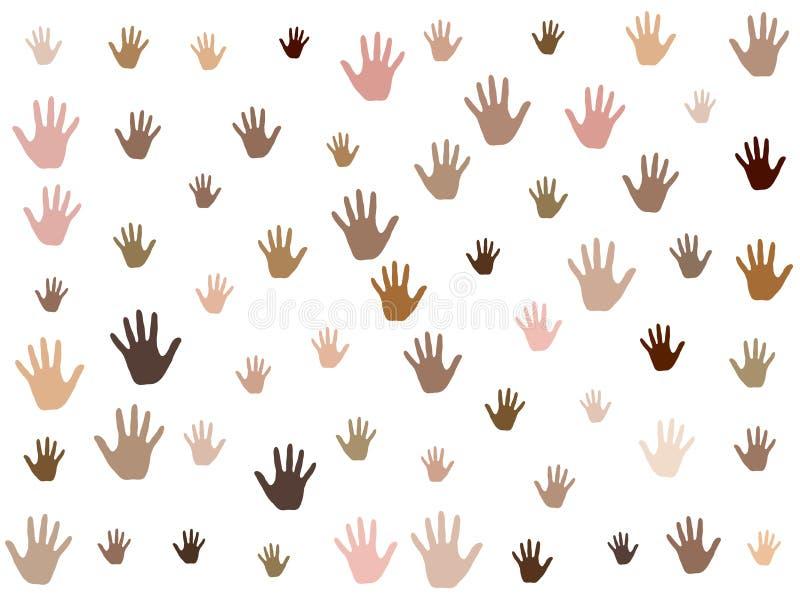 Χέρια με το διανυσματικό γραφικό σχέδιο ποικιλομορφίας χρώματος δέρματος Κοινοτικά εικονίδια έννοιας, κοινωνικά, εθνικά, φυλετικά απεικόνιση αποθεμάτων