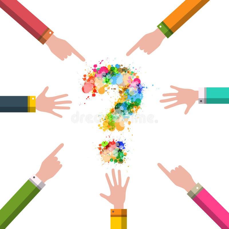 Χέρια με το διανυσματικό σχέδιο μυστηρίου ερωτηματικών Έννοια επιχειρησιακής λύσης απεικόνιση αποθεμάτων