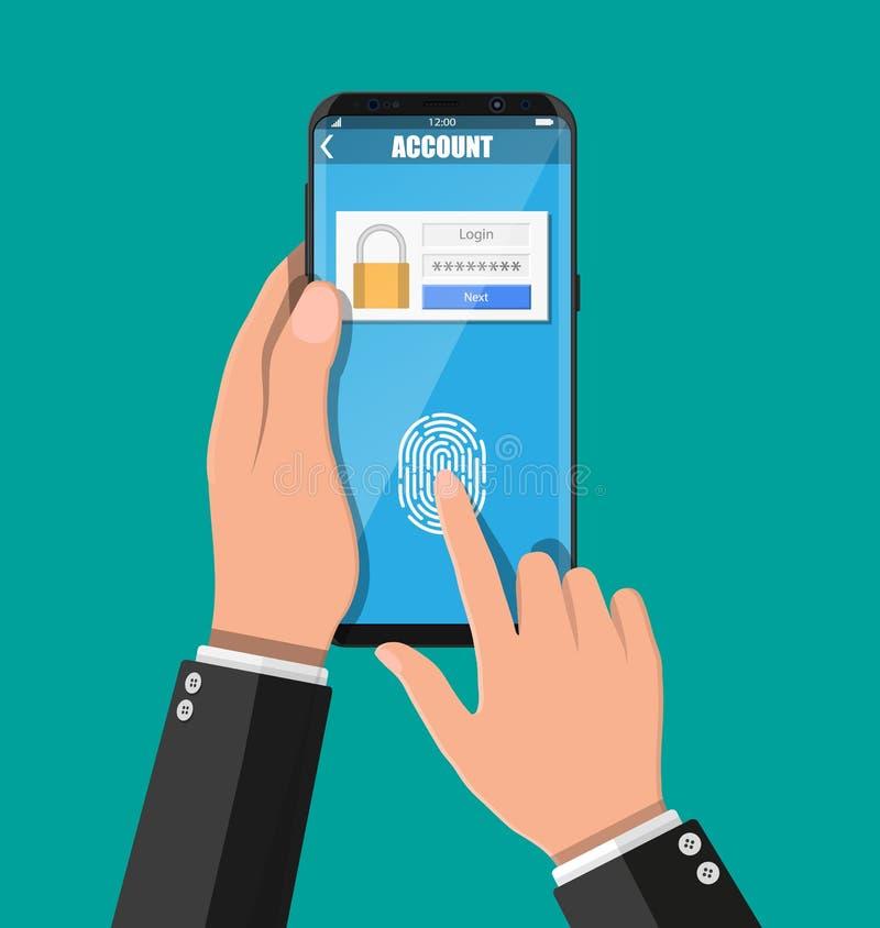 Χέρια με το smartphone που ξεκλειδώνονται από το δακτυλικό αποτύπωμα ελεύθερη απεικόνιση δικαιώματος