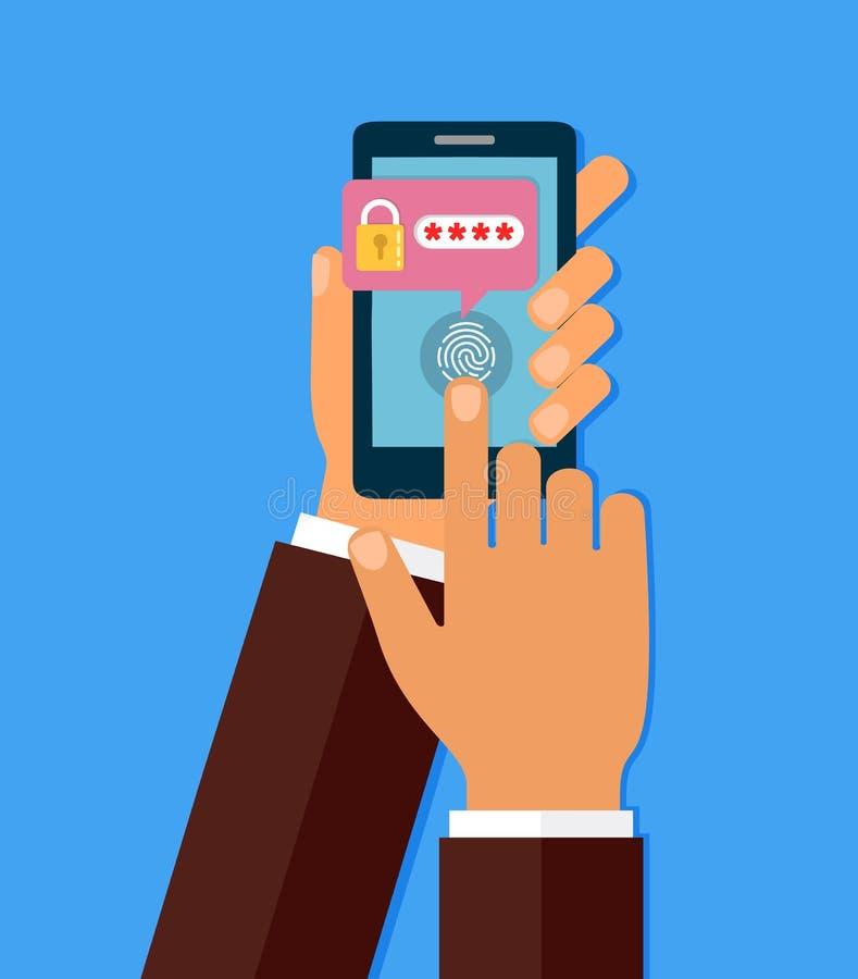 Χέρια με το smartphone που ξεκλειδώνονται με το κουμπί δακτυλικών αποτυπωμάτων και τη διανυσματική, κινητή τηλεφωνική ασφάλεια αν ελεύθερη απεικόνιση δικαιώματος