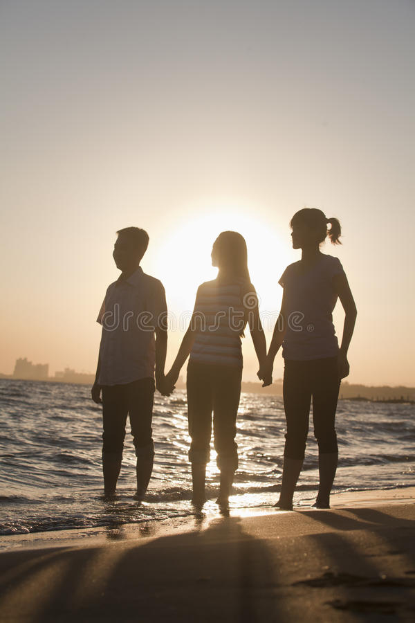 Χέρια οικογενειακής εκμετάλλευσης στην παραλία, ηλιοβασίλεμα στοκ φωτογραφίες με δικαίωμα ελεύθερης χρήσης