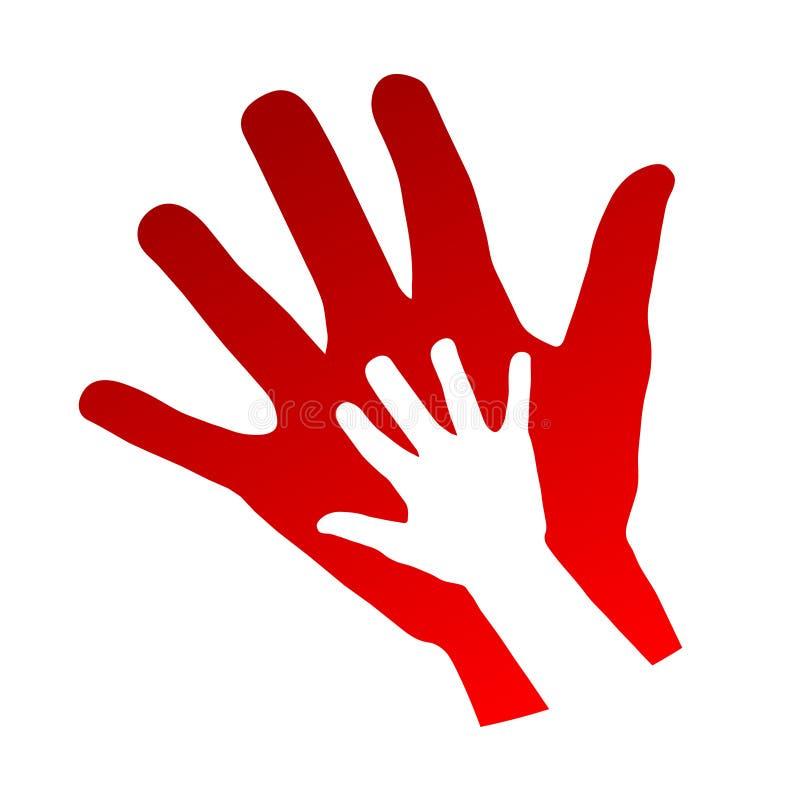 Χέρια παιδιών και μητέρων, οικογενειακή έννοια πέρα από το άσπρο υπόβαθρο, ST ελεύθερη απεικόνιση δικαιώματος