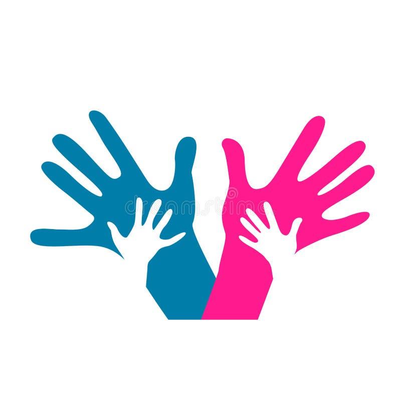 Χέρια παιδιών και ενηλίκων διανυσματική απεικόνιση