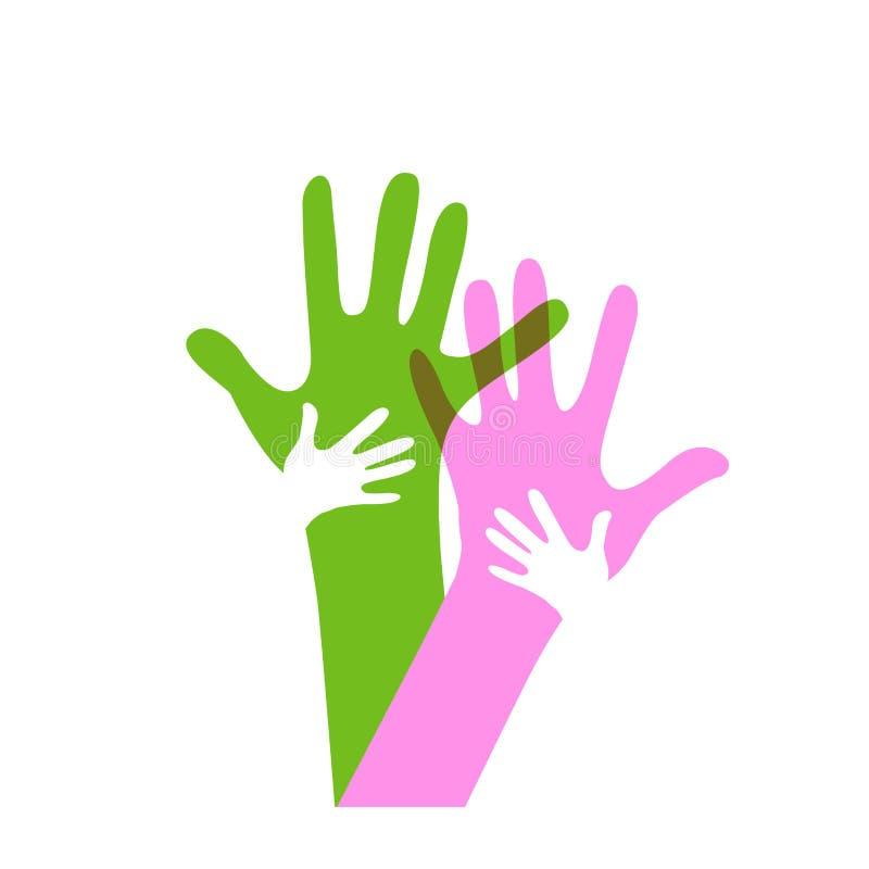Χέρια παιδιών και ενηλίκων ελεύθερη απεικόνιση δικαιώματος