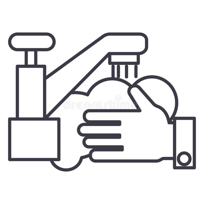 Χέρια πλύσης, διανυσματικό εικονίδιο γραμμών γερανών πλυσίματος, σημάδι, απεικόνιση στο υπόβαθρο, editable κτυπήματα ελεύθερη απεικόνιση δικαιώματος