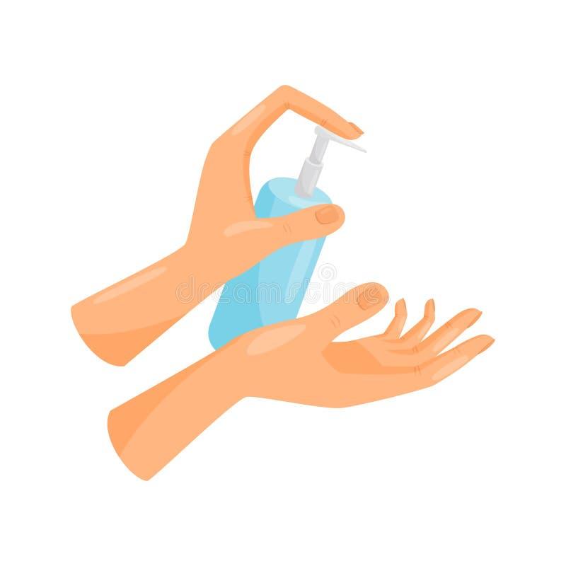 Χέρια πλύσης, υγρή άντληση σαπουνιών από το μπουκάλι, υγιεινή, υγειονομική περίθαλψη και υγιεινή, πρόληψη των μολυσματικών ασθενε ελεύθερη απεικόνιση δικαιώματος