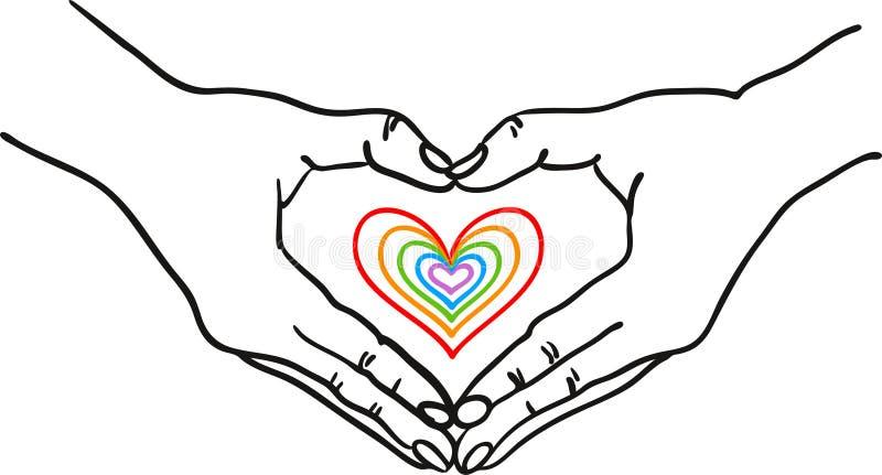 Χέρια που διαμορφώνουν τη μορφή καρδιών γύρω από μια ζωηρόχρωμη ρομαντική καρδιά - δώστε τη συρμένη διανυσματική απεικόνιση - κατ διανυσματική απεικόνιση