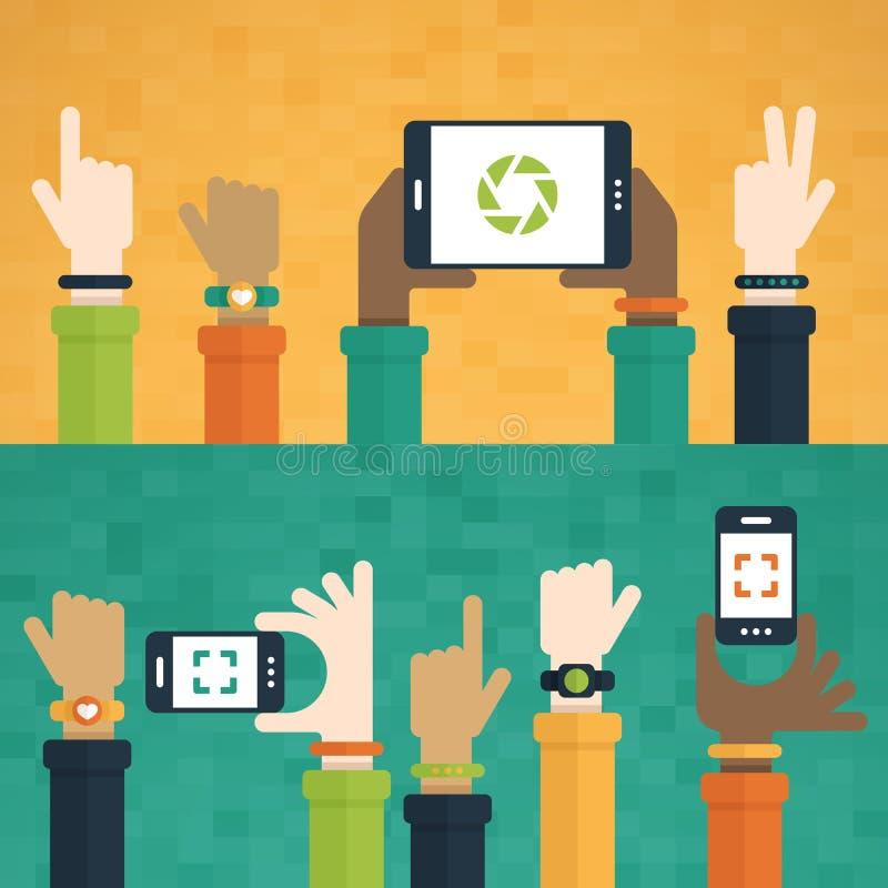 Χέρια που εγείρονται προς τις κινητές συσκευές διανυσματική απεικόνιση