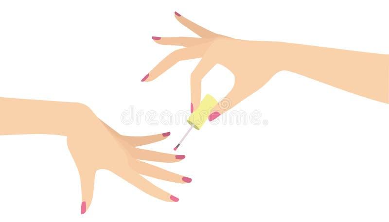 Χέρια που κάνουν το μανικιούρ που εφαρμόζει τη στιλβωτική ουσία καρφιών απεικόνιση αποθεμάτων
