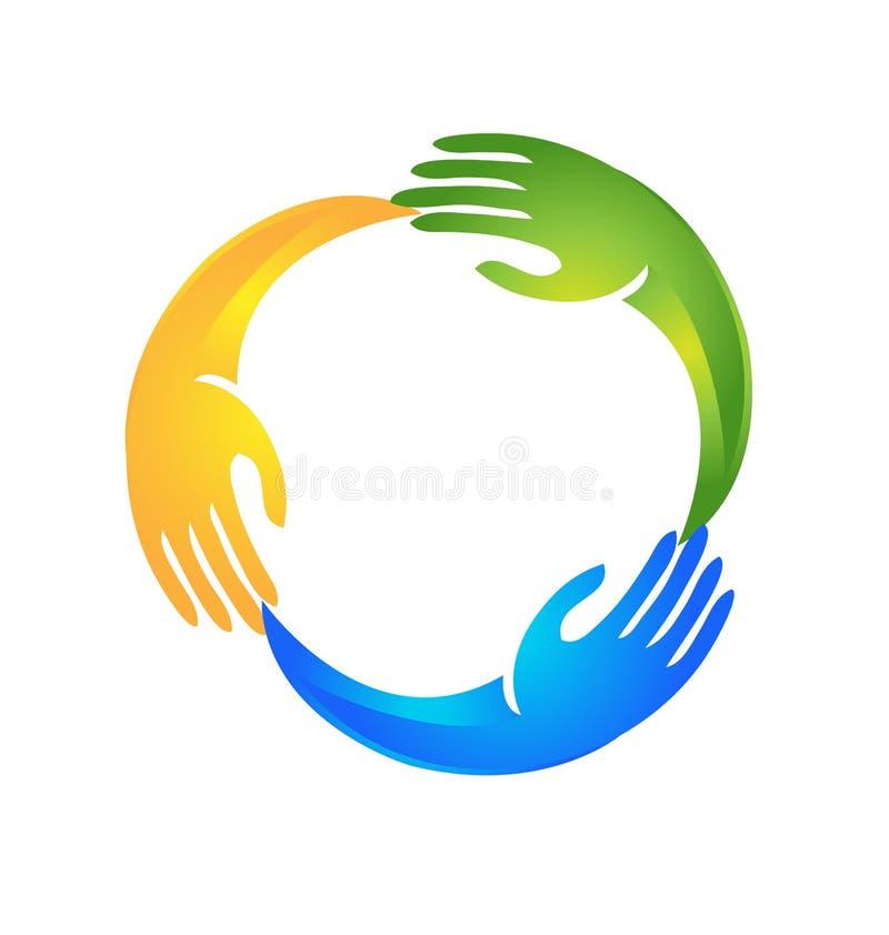 Χέρια που καθοδηγούν το ένα το άλλο σε ένα λογότυπο μορφής κύκλων απεικόνιση αποθεμάτων