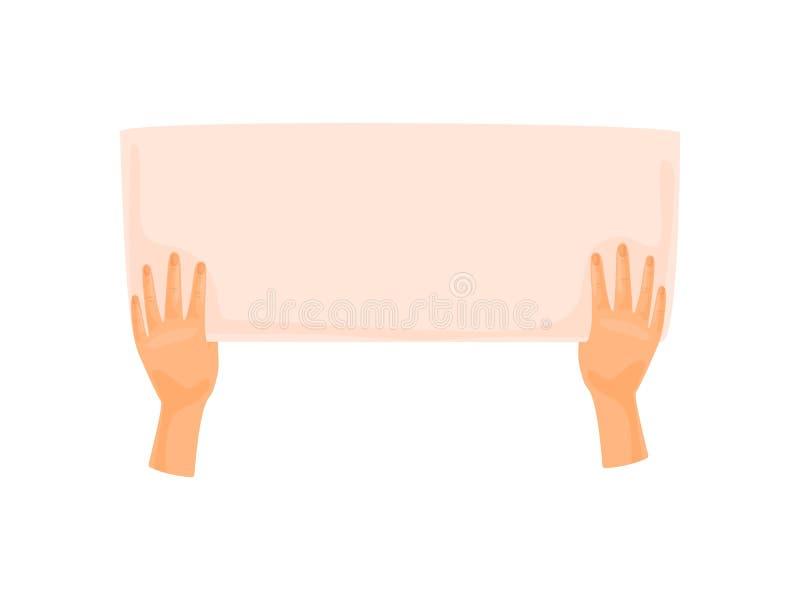Χέρια που κρατούν ένα μεγάλο φύλλο του εγγράφου E διανυσματική απεικόνιση