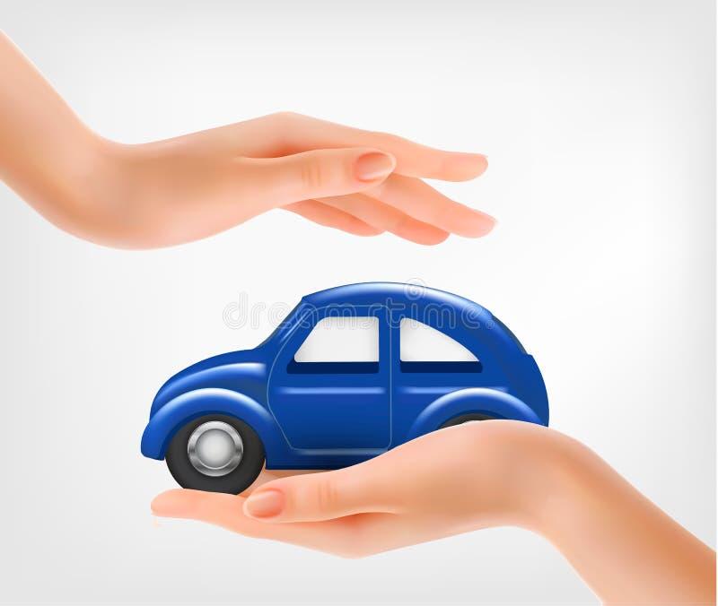 Χέρια, που κρατούν ένα μπλε πρότυπο αυτοκίνητο διανυσματική απεικόνιση