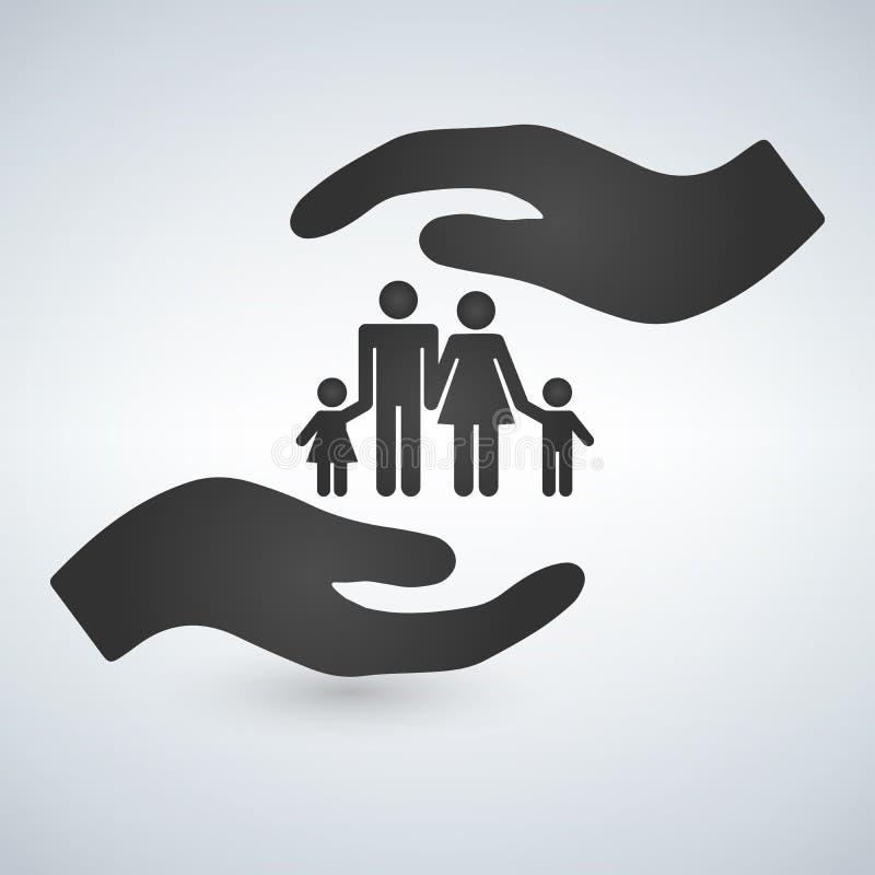 Χέρια που κρατούν ένα σύμβολο της οικογένειας Η οικογένεια προστατεύει το εικονίδιο διανυσματική απεικόνιση