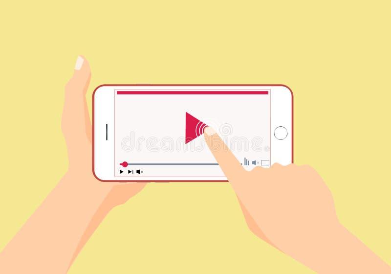 Χέρια που κρατούν και που χρησιμοποιούν το smartphone διανυσματική απεικόνιση