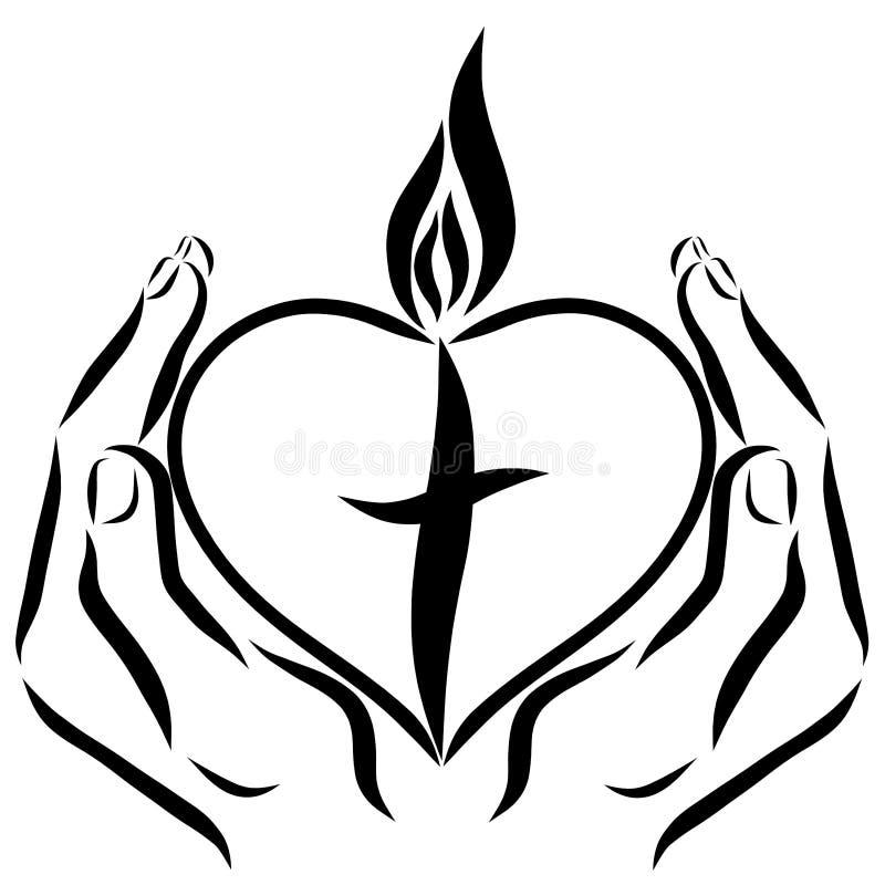 Χέρια που κρατούν μια καρδιά με έναν σταυρό και μια φλόγα απεικόνιση αποθεμάτων