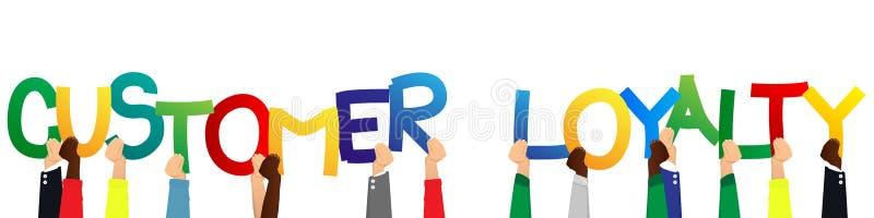 Χέρια που κρατούν την πίστη πελατών λέξεων διανυσματική απεικόνιση